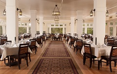 A large and impressive dining room in the Lake Yellowstone Hotel