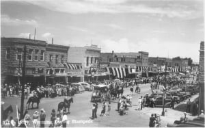 Black and white image of the 1948 stampede parade