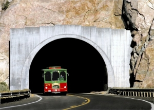Trolly car coming out of a tunnel