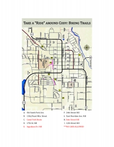 Map of biking trails around Cody, WY