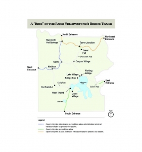Map of Yellowstone park biking trails
