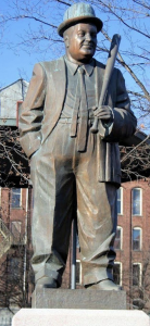 The statue of Lou Costello in Lou Costello Memorial Park.