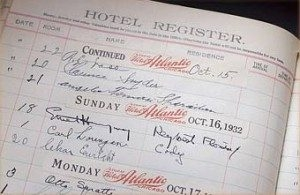 The register at the Chamberlin Inn featuring Hemigway's signature.