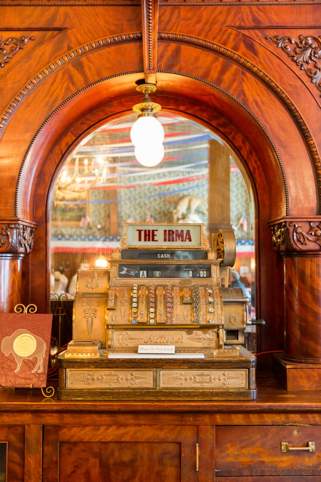 A cash register at the Irma Hotel