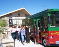 Tourists boarding the Cody Trolley