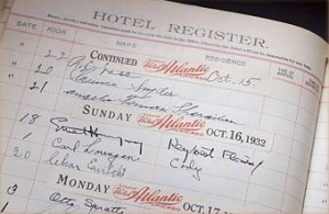 The Chamberlin Inn's register book, featuring Ernest Hemingway's signature