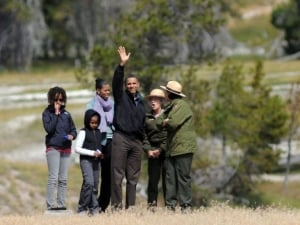 The Obama Family visiting Old Faithful