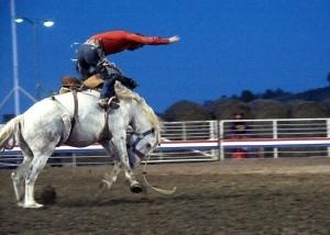 A cowboy rides a wild bucking bronco
