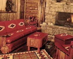Interior of the cozy By Western Hands, featuring hand-built furniture from some of the West's top artisans.