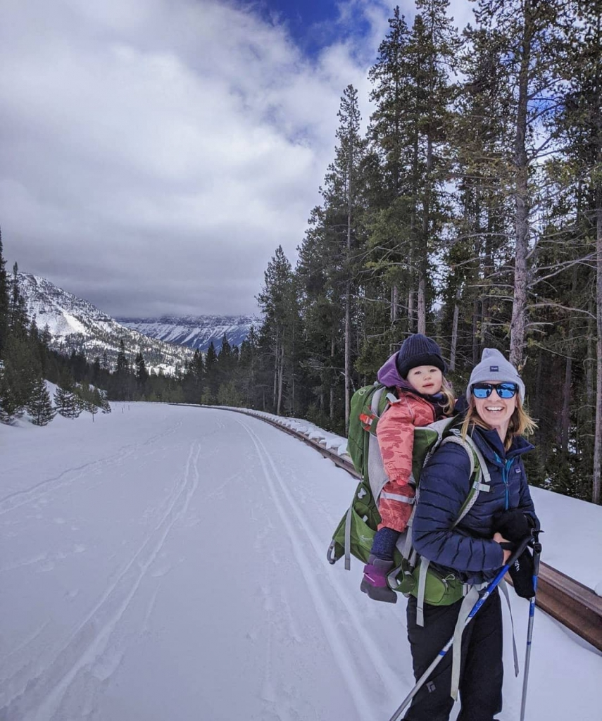 A mother and child ski in Cody Yellowstone