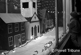 Black and white image of a model christmas scene