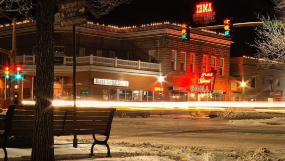 A wintery evening in downtown Cody, Wyoming