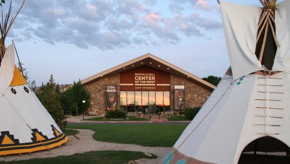 Two traditional Teepee's in front of the Buffalo Bill Center of the West