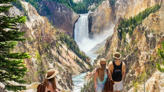 A family relaxes near Artist Point in Yellowstone National Park
