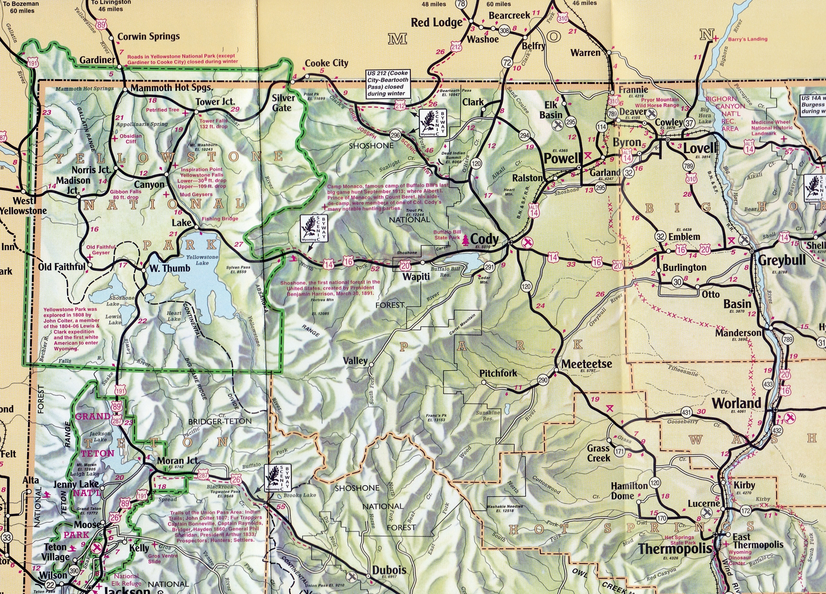 Area Maps Cody Yellowstone