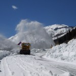 snow plow plowing road