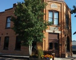First National Bank of Meeteetse recently restored and on the National Register of Historic Places