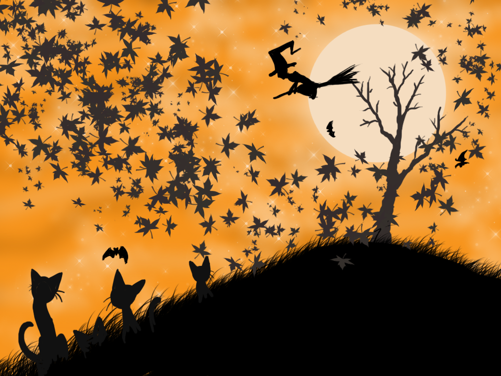 Black Cats Bats And Witch Flying In Air On Broom
