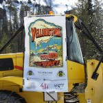 "snowplow with sign reading ""Yellowstone or Bust"""