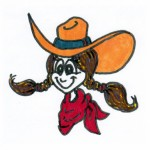 cartoon cowgirl with braids
