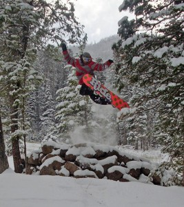 A snowboarder catches some air at Sleeping Giant Ski area.