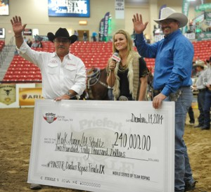 Al and Mark with their big check – a Cowboy Christmas!