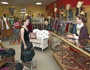 A customer gets advice from a clerk at a clothing store in Cody/Yellowstone Country.