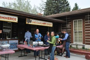Pancake breakfast outside the Cody, Wyoming Chamber of Commerce