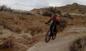 A cyclist rides a trail in Cody/Yellowstone Country.