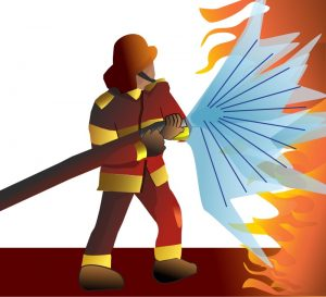 An illustration of a firefighter putting out a fire.