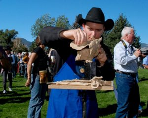 A competitor at The Buffalo Bill Quick Draw and Brunch