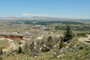 View from Cedar Mountain overlooking the town of Cody. Wyoming.
