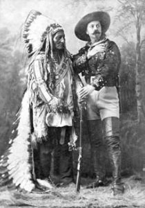 Buffalo Bill posing with Lakota tribe leader Sitting Bull.