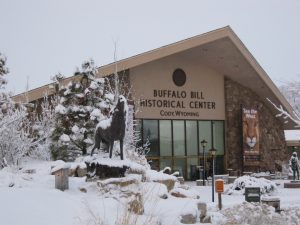The exterior of the Buffalo Bill Historical Center in winter.
