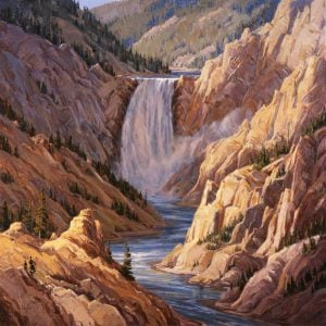 Lower Falls of Yellowstone painting by Kathy Wipfler.