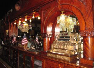 The iconic cherrywood bar at the Irma Hotel in Cody, Wyoming.