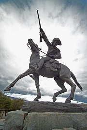 State of town founder Buffalo Bill outside the Center of the West in Cody, Wyoming.