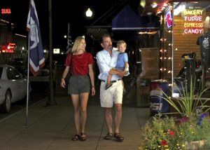 A family strolls downtown Cody, Wyoming.