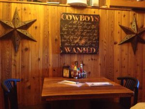 A rustic table setting at Proud Cut Saloon in Cody/Yellowstone Country.
