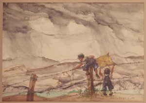 A painting depicting two children playing by a barbed wire fence by artist Estelle Ishigo.