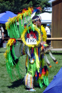 A dancer in traditional dress performs at the Plains Indian Powwow in Cody/Yellowstone Country.