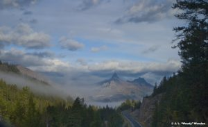 The winding Chief Joseph Scenic Highways cutting through the foggy mountains of Cody/Yellowstone Country.