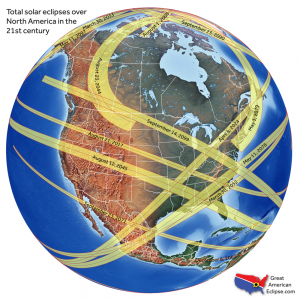A map showing the path of solar eclipses across North America in the 21st century.