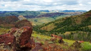 The sweeping view from the summit of the Four Bear Trail in Cody/Yellowstone Country.