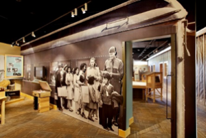 Exhibits depict the roundup and incarceration of Japanese-Americans.