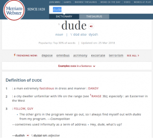 "A screenshot of the Merriam-Webster definition of the word ""dude"""