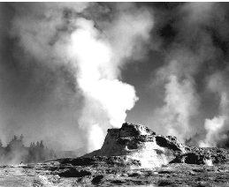 A black and white vintage photo of the Castle Geyser