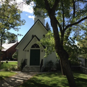 "A church nicknamed ""The Poker Church"" on a sunny day in Cody, Wymong"