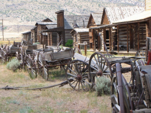 Old wagons lined up along the main street in Old Trail Town