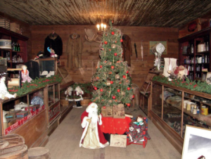 The saloon at Old Trail Town decorated with Christmas decorations